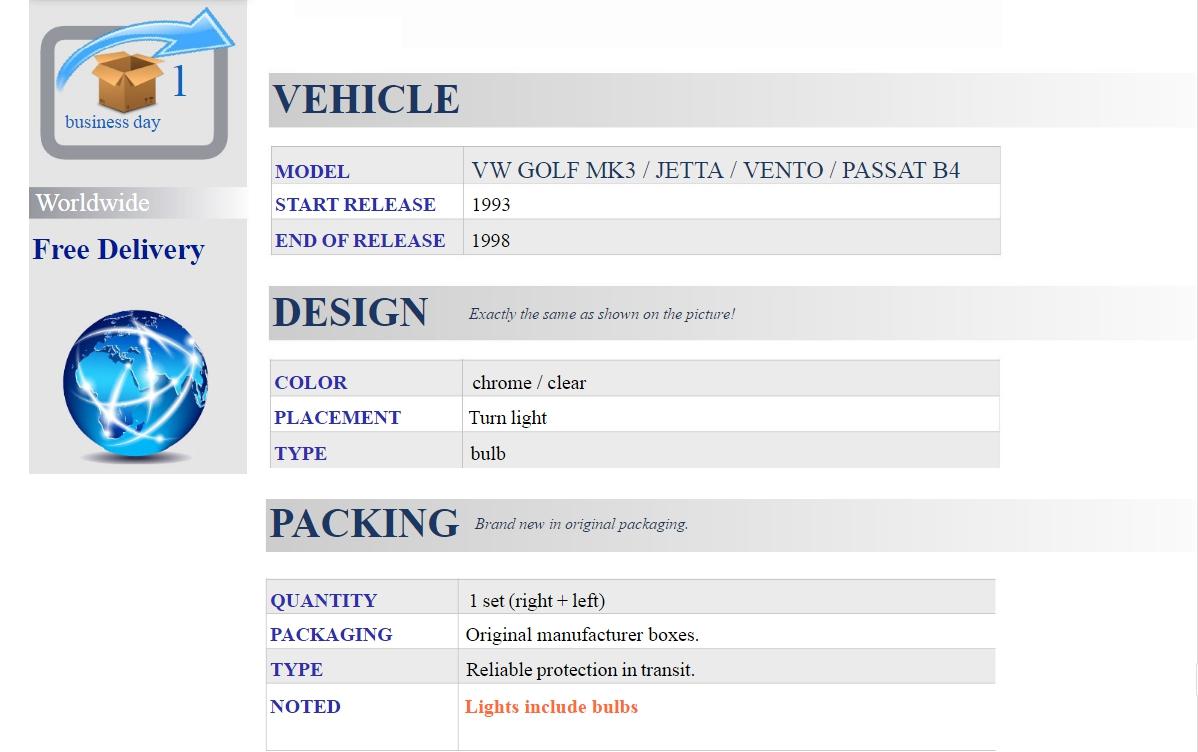 Vw Golf Mk3 92 98 Jetta Vento Passat B4 Side Marker